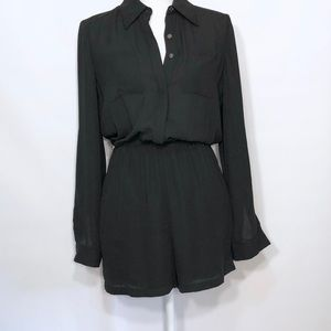 Tahari Black Sheer Button Down Romper roll sleeve